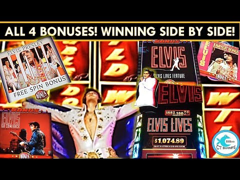 NEW! *FIRST LOOK* ELVIS LIVES! Slot Machine - All 4 Bonuses! BIG WIN!