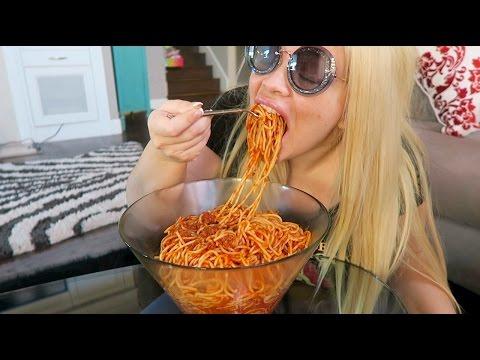 HUGE BOWL of Spaghetti w/ Meat Sauce Eating Show (MUKBANG) | WATCH ME EAT!