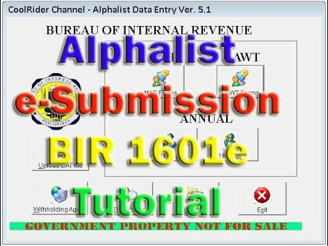 Creating 1601e esubmission for BIR Form Tutorial