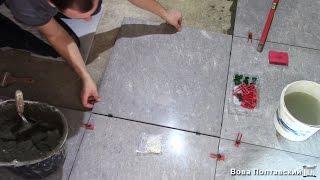 Укладка плитки 60х60 на пол в ПРИХОЖЕЙ с помощью системы СВП