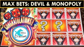 MR. MONOPOLY vs. TRIPLE TROUBLE SLOT MACHINE @ MAX BET! WHICH SLOT PAYS US MORE?