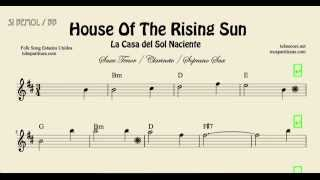 House of the Rising Sun Easy Sheet Music for Tenor Saxophone Soprano Saxophone and Clarinet Chords