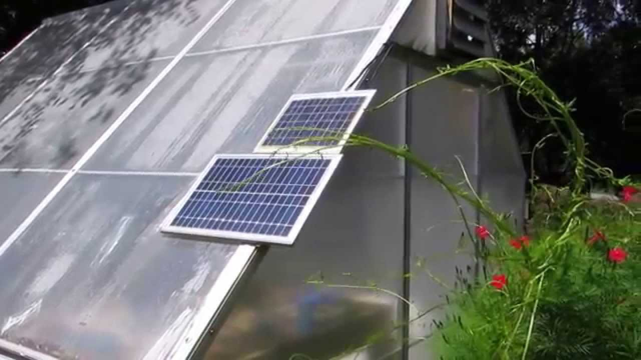 Solar Powered Greenhouse Fan I Installed For A Neighbor