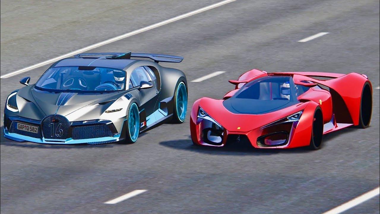Bugatti Divo vs Ferrari F80 Concept - Drag Race - YouTube