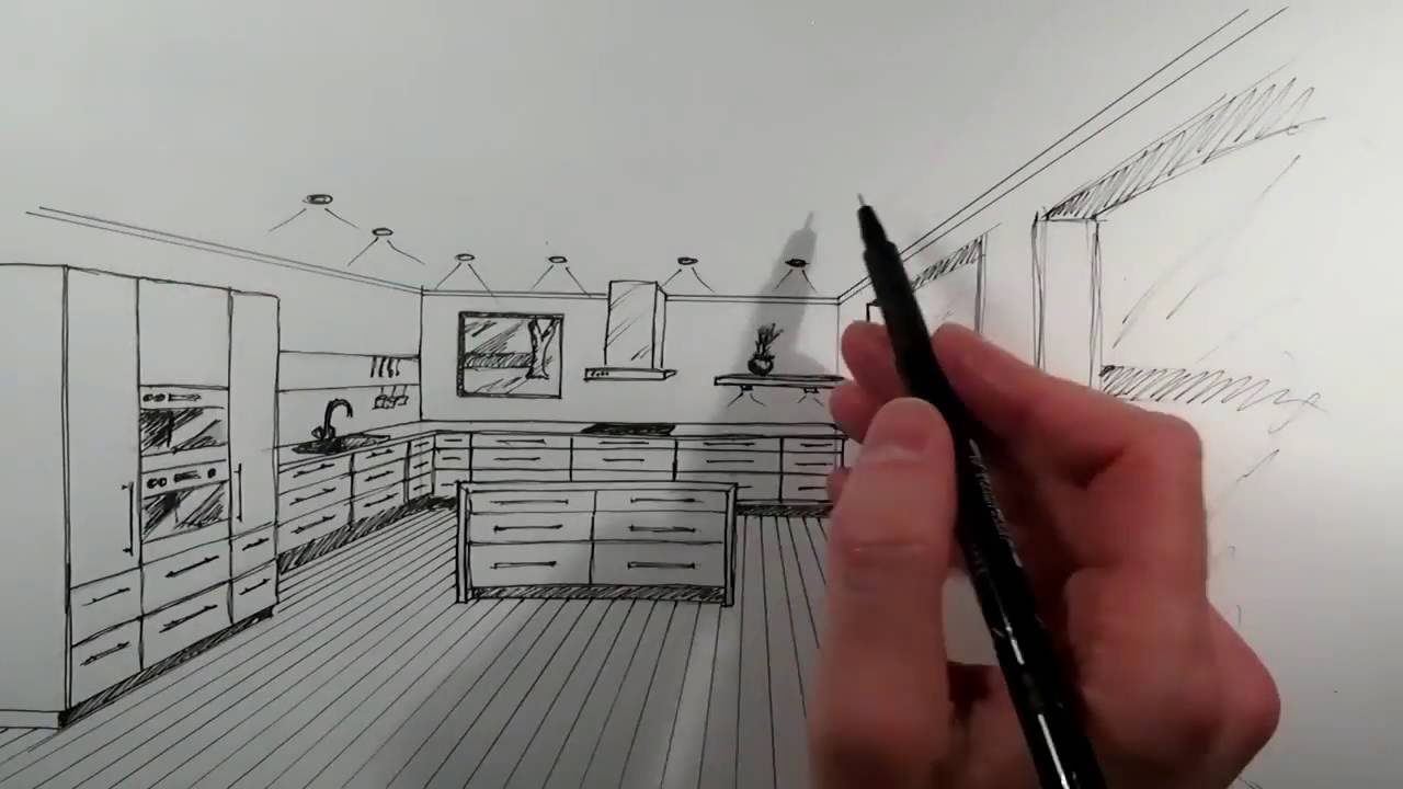 kitchen 1 point perspective. drawing a kitchen with 1 point perspective n