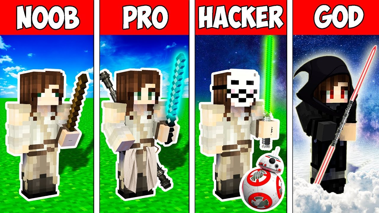 Minecraft Noob Vs Pro Vs Hacker Vs God Star Wars Rey Skywalker Rise Animation Youtube