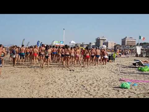 Zumba dancing on the beach Rimini Italy