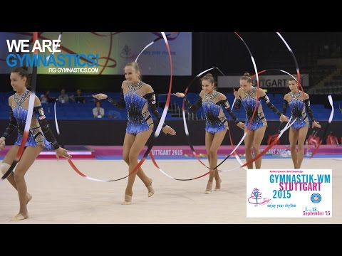 2015 Rhythmic Worlds, Stuttgart (GER) - Highlights 7, Group Apparatus Final, 5 Ribbons