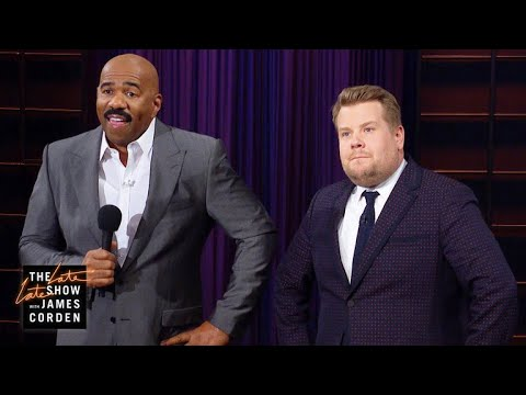 Steve Harvey Hijacks James Corden's Q&A