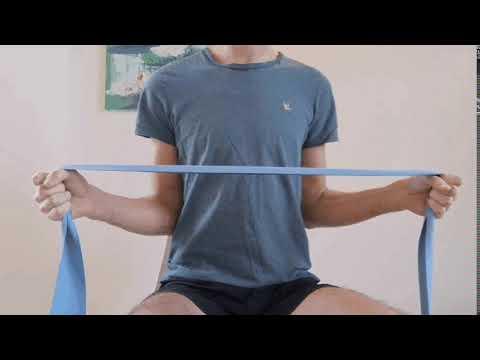Renforcement des rotateurs externes des épaules avec élastique.