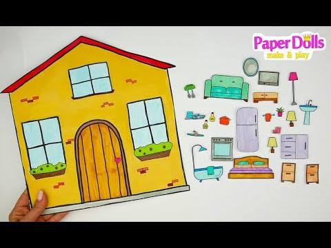 HOW TO MAKE DOLLHOUSE FOR PAPER DOLLS DRAWING FURNITURE FOR KIDS