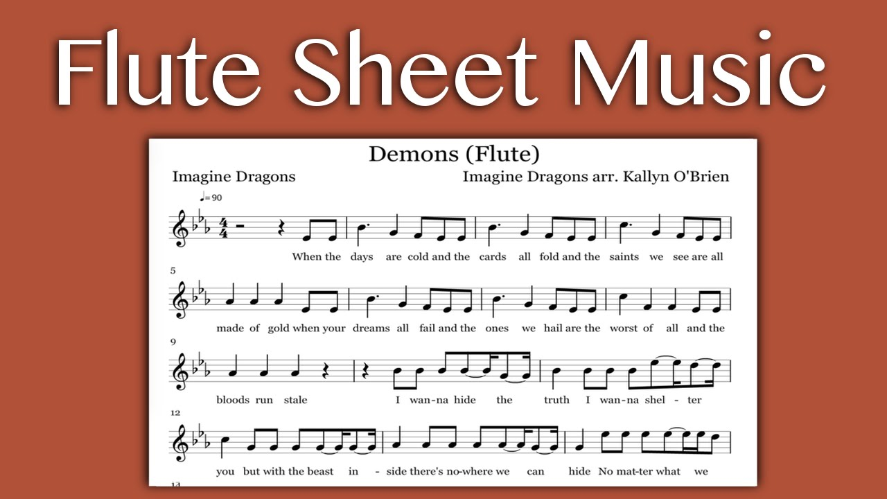 Demons Imagine Dragons Flute Sheet Music Youtube
