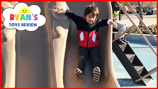 Outdoor Playground Fun for Children Activities! Kids Slide Family Fun Park Giant Legos Sand Box