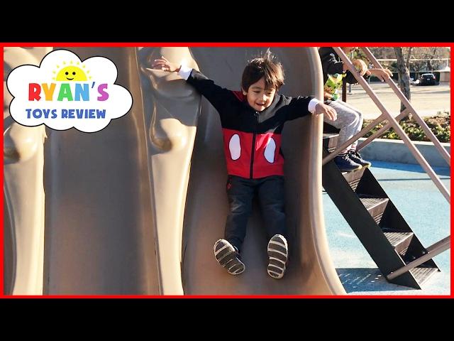 Outdoor Playground Fun for Children Activities! Kids Slide Family Fun Park Giant Legos Sand Box