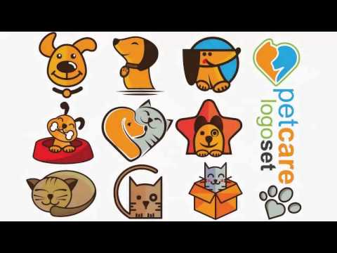 Pet logo design (3cats 2dogs and 2marks) art set creation in adobe illustrator