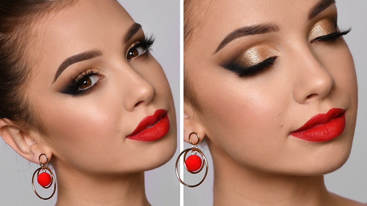 HOLIDAY GLAM Makeup Tutorial | Red Lipstick and Gold Smokey Eye