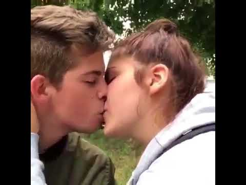 Cute teen couple making out