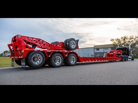Globe Trailers: Watch This Freight's Red Extendable Lowboy with Stinger