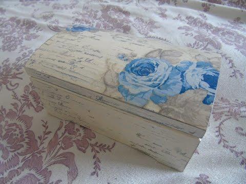 Decoupage box - decoupage on wooden box - decoupage pudełko vintage - decoupage suomi - tutorial DIY