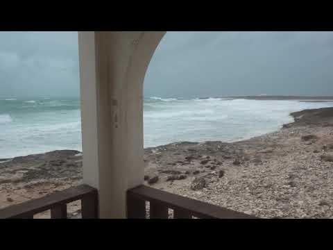 Wind as Hurricane Maria passes Anguilla around 100 miles away