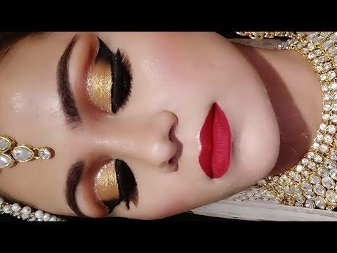 INDIAN MUSLIM BRIDAL Makeup Tutorial In HINDI  Gold CUT CREASE