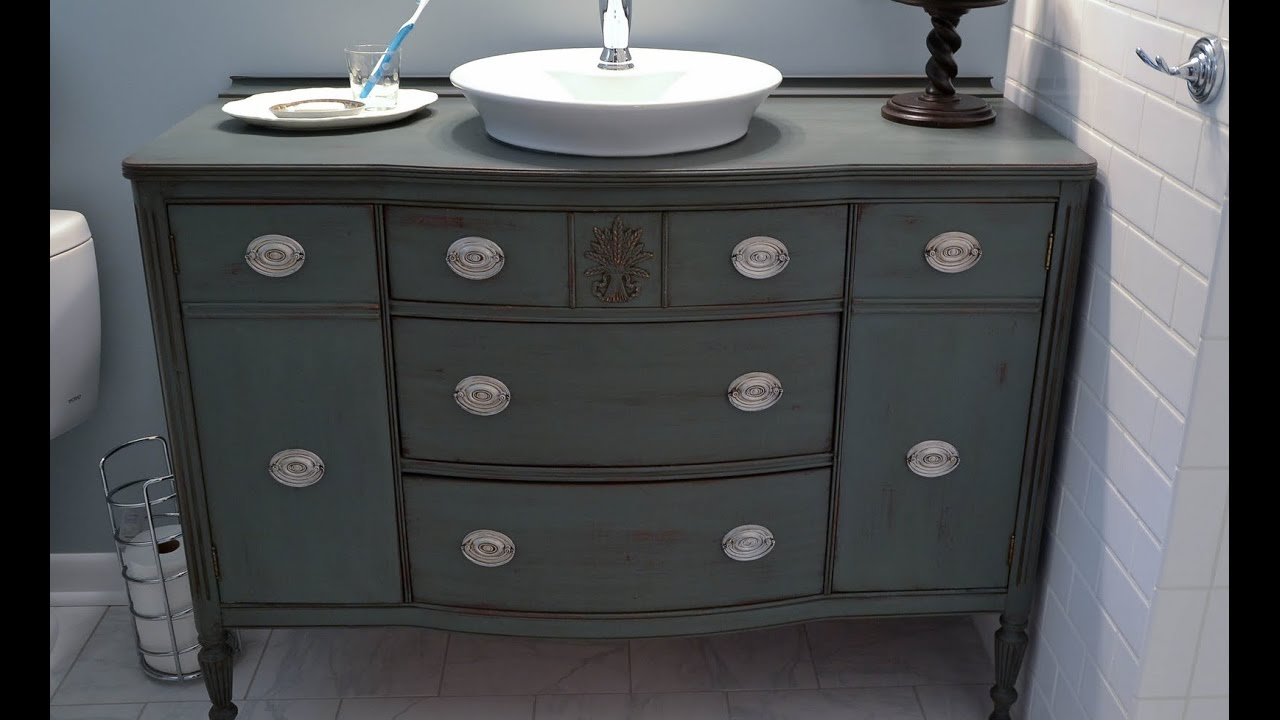 Diy Bathroom Vanity from Dresser - YouTube on dressers turned into bathroom vanities, dressers furniture for bathroom, dressers as entertainment centers, dressers as benches,
