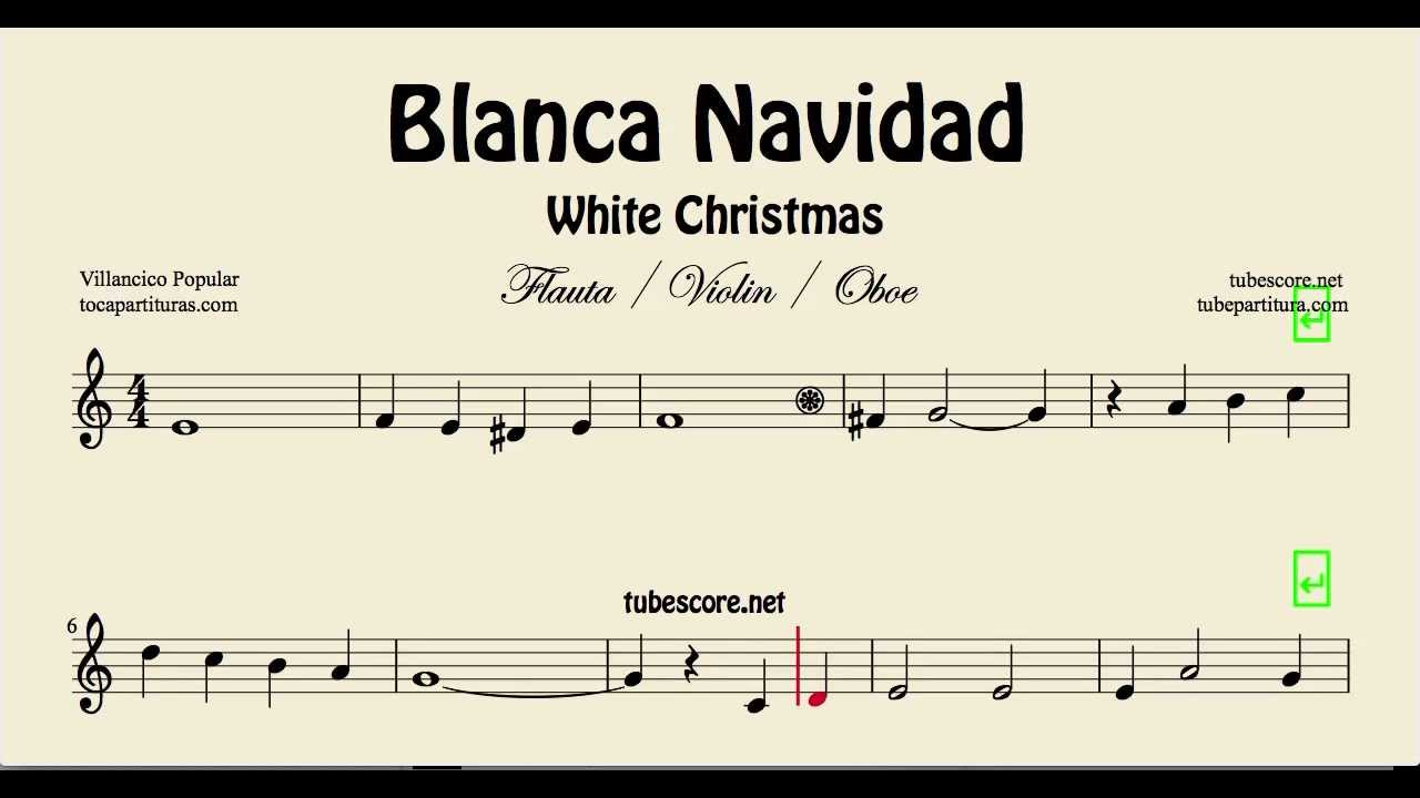 White Christmas Sheet Music for Flute, Violin and Oboe Blanca ...