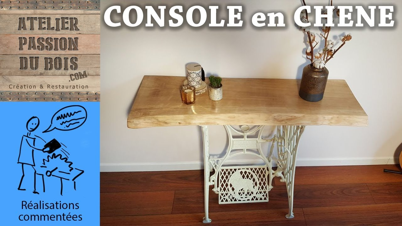Table Machine A Coudre une console en chene