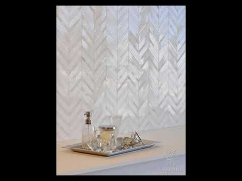 Herringbone Pattern White Carrara Marble With Mother Of Pearl Mosaic Tile