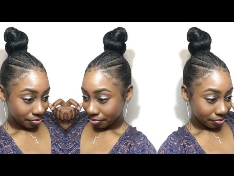 Sleek Braided Bun Updo Using Kanekalon Braiding Hair Natural Hair