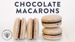 chocolate macarons italian method bouchon bakery honeysuckle