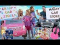 Crazy & Wacky FAKE Car Stores Compete for Addy and Maya !!!
