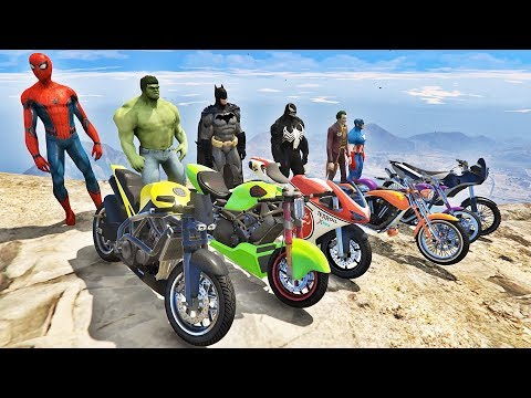 HOMEM ARANHA HULK E BATMAN COM MOTOS ESPORTIVAS! DESAFIO DE MOTOS COM SPIDERMAN - IR GAMES