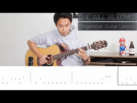 Maroon 5 She Will Be Loved  - Fingerstyle Guitar Lesson FREE TABS Tutorial - Rodrigo Yukio
