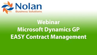 Microsoft Dynamics GP EASY Contract Management Recorded Webinar
