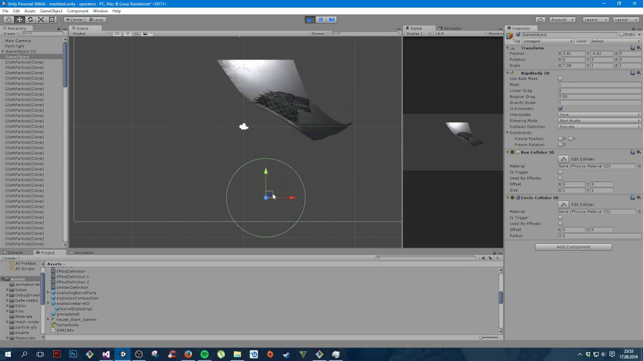 Unity 2d cloth with collision