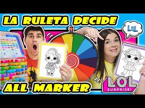 ROTULADORES CHALLENGE La Ruleta Decide Con Qué Coloreamos 3 MARKER LOL SUPRISE