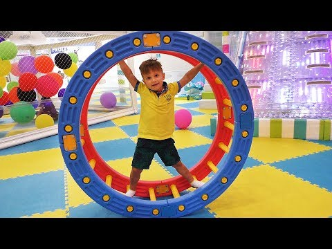 Funny kids play on the Indoor Playground family fun, ABC song nursery rhymes songs for children