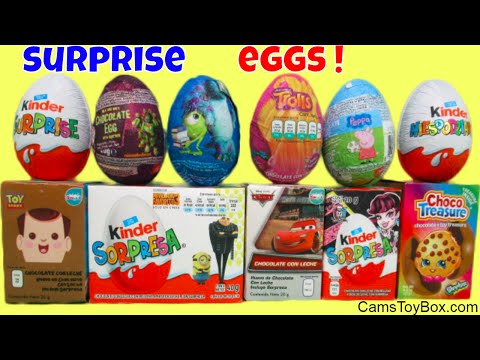 Chocolate Surprise Eggs Toy Story Despicable Me 3 Trolls Peppa Pig Disney Cars Shopkins Monster High - 동영상