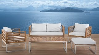 Beliani Stainless Steel Garden Furniture - Table - Sofa - 2 Chairs - Ottoman - Bermuda - Eng