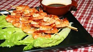 Рецепт - Жареные  креветки на шпажках. Shrimp