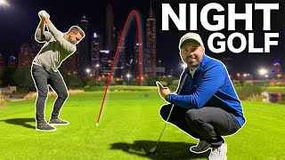 Playing NIGHT GOLF in Dubai