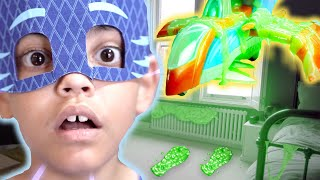 PJ Masks in Real Life: Trapped in SLIME! | Halloween PJ Masks
