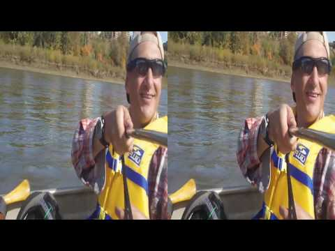 3D Video - Canoeing on the North Saskatchewan River, Edmonton, Alberta, Canada