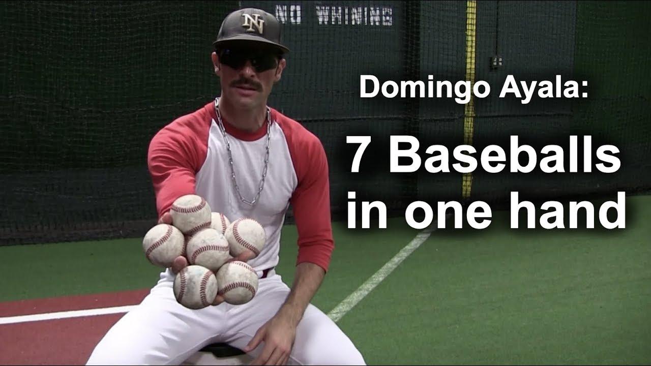 Domingo Ayala 7 Baseballs In One Hand