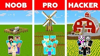 Minecraft NOOB vs PRO vs HACKER : FAMILY FARM CHALLENGE in minecraft / Animation
