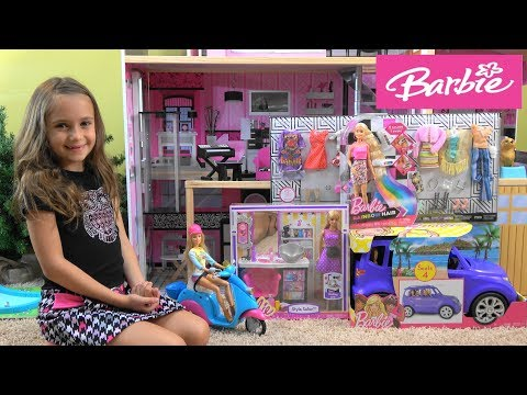 Barbie and Ken Anniversary Dinner Story with NEW Barbie Car, Barbie Hair Salon and Barbie Fashion