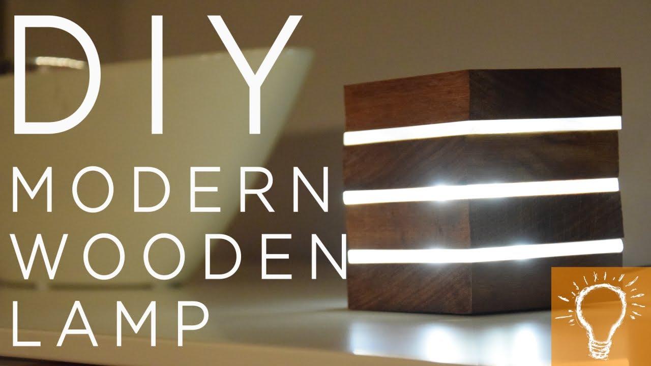 DIY Modern Wooden LED Lamp - YouTube