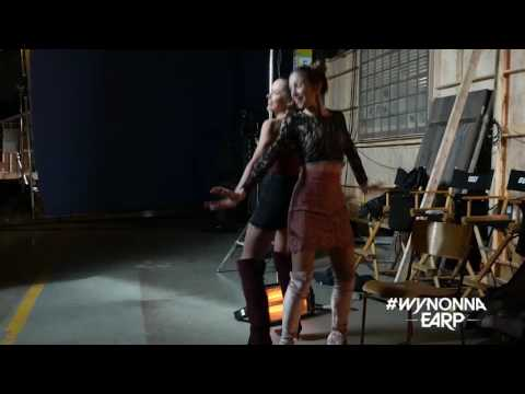 Dominique PC and Tamara Duarte dancing together bts of Wynonna Earp