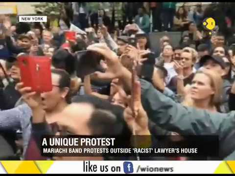 Protest against lawyer in New York, who ranted against Spanish speakers